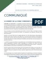 Communiqué de presse - Le sommet de la CEMAC convoqué à Libreville