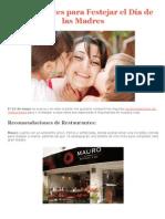 Restaurantes Para Festejar El Día de Las Madres