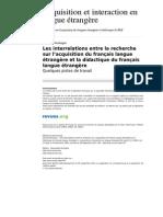 Les Interrelations Entre La Recherche Sur l Acquisition Du Francais Langue Etrangere Et La Didactique Du Francais Langue Etrangere Quelques Pistes de Travail