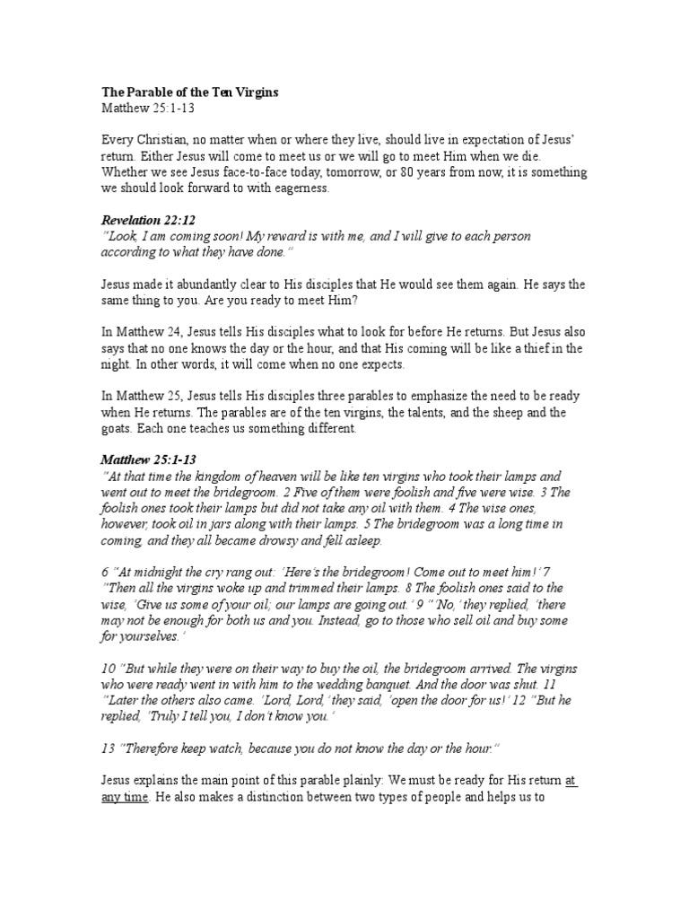 The Parable of the Ten Virgins (Sermon) | Religious Behaviour And