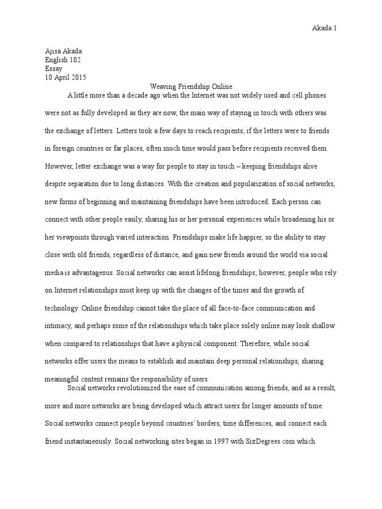friendship essay | Social Networking Service | Friendship