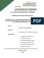 Implementacic3b3n de Un Adecuado Sistema de Control Interno y Su Influencia en Los Procesos y Controles de La Oficina de Tesorerc3ada de La Municipalidad Provincial de Virc3ba