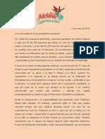 """Declaración """"Adelante"""" frente a segunda vuelta Elecciones FEC 2015"""