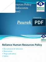Human Resources Policy of Reliance Infocomm (GSM