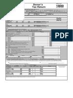 BIR Form 1800 - Donor's Tax Return