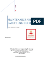 Maintenance and Safety Engineering