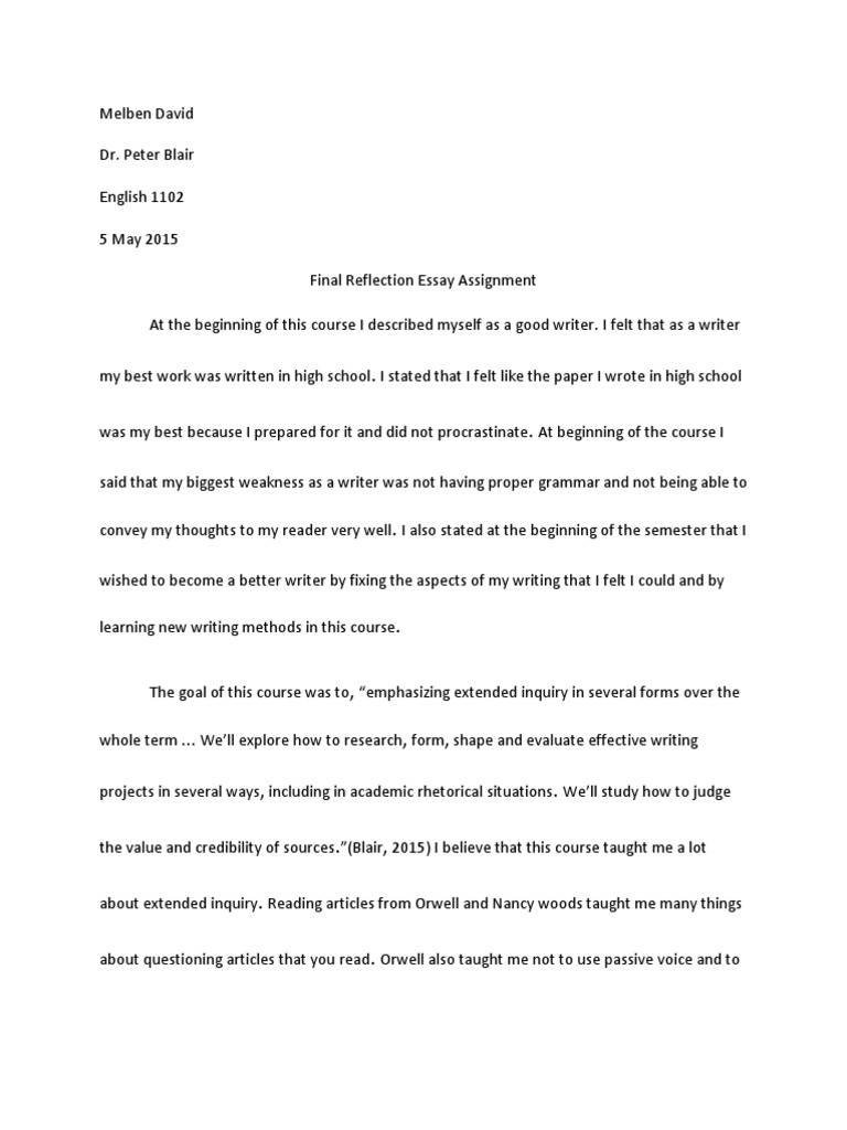 Final reflection essay sample resume objectives for insurance agent
