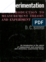 Experimentation An Introduction to Measurement Theory and Experiment Design DC Baird