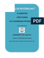 B Sc Counselling Psychology - VI Sem. Core Course - Health Psychology