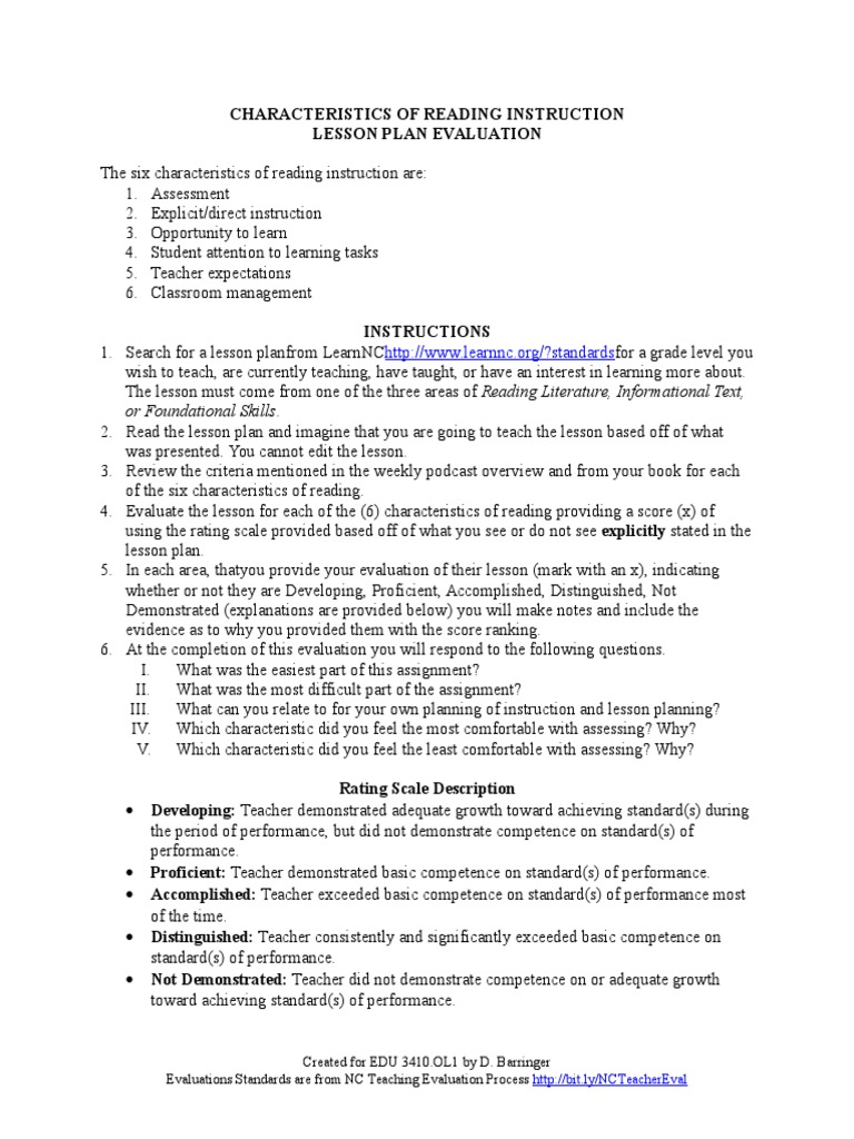 Chapter 2 The Six Characteristics Of Reading Instruction Lesson Plan