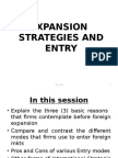 Expansion and Entry Strategies