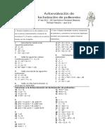 Autoevaluación de Factorización de Polinomios 4º