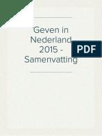 Geven in Nederland 2015 - Samenvatting