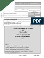 Prova a Nível de Escola - 1º Caderno Português 2014 Verificada