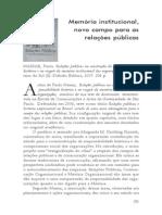 Resenha do Livro Relações públicas na construção da responsabilidade histórica e no resgate da memória institucional das organizações - Paulo Nassar