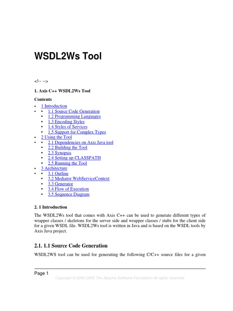 WSDL2Ws | Java (Programming Language) | C++