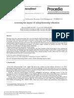 Assessing the Impact of Entrepreneurship Education