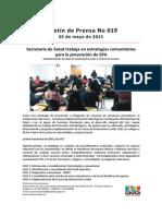 Boletin 019_ Secretaría de Salud Trabaja en Estrategias Comunitarias Para La Prevención de SPA