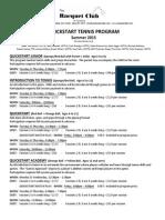 Quickstart Tennis Program - Summer 2015