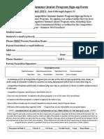Competitive Junior Program Signup Form Summer 2015