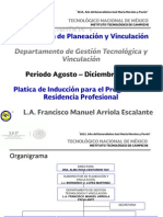 Platicas de Induccion Para El Programa de Residencias Profesionales Agosto - Diciembre 2015....