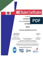 ase certificate - brakes, j  sparks