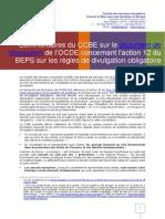 Réponse CCBE à OCDE Sur Divulgation Obligatoire