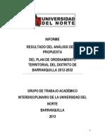 2013 UniNorte Resultados Del Análisis de La Propuesta Del POT Barranquilla 2012-2032