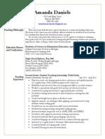amanda daniels resume 2015
