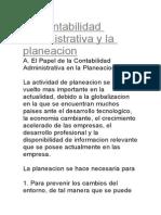 La Contabilidad Administrativa y La Planeacion