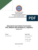 CAM - Unidad 5 - Tema 2 - Descripción de Módulos Funcionales CPU, Módulos ES (Analógicos y Digitales)