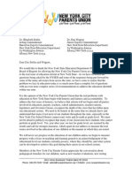 Teacher Evaluation System Recommendations Letter to Board of Regents & NYS Ed Dept.