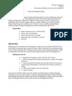 classroom management plan - practicum modification