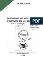 Taxonomía de Los Objetivos de La Educación - Bloom. I Parte - Manual Dominio Cognositivo