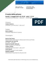 11 Maggio - Unibocconi - Il Costo Della Privacy