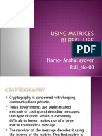 Cryptography Using Matrices in Real Life