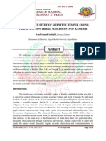 A COMPARATIVE STUDY OF SCIENTIFIC TEMPER AMONG TRIBAL AND NON-TRIBAL ADOLESCENTS OF KASHMIR