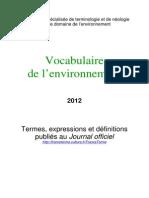 Vocabulaire de l Environnement 2012-1
