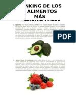 Ranking de Los 5 Alimentos Más Antioxidantes