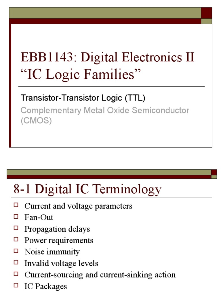 Ttl Logic Families Transistor Cmos 10 Second Fan On Delay Time By