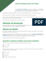 Sistemas de Equações do 1° Grau com 2 Incógnitas - Matemática Didática