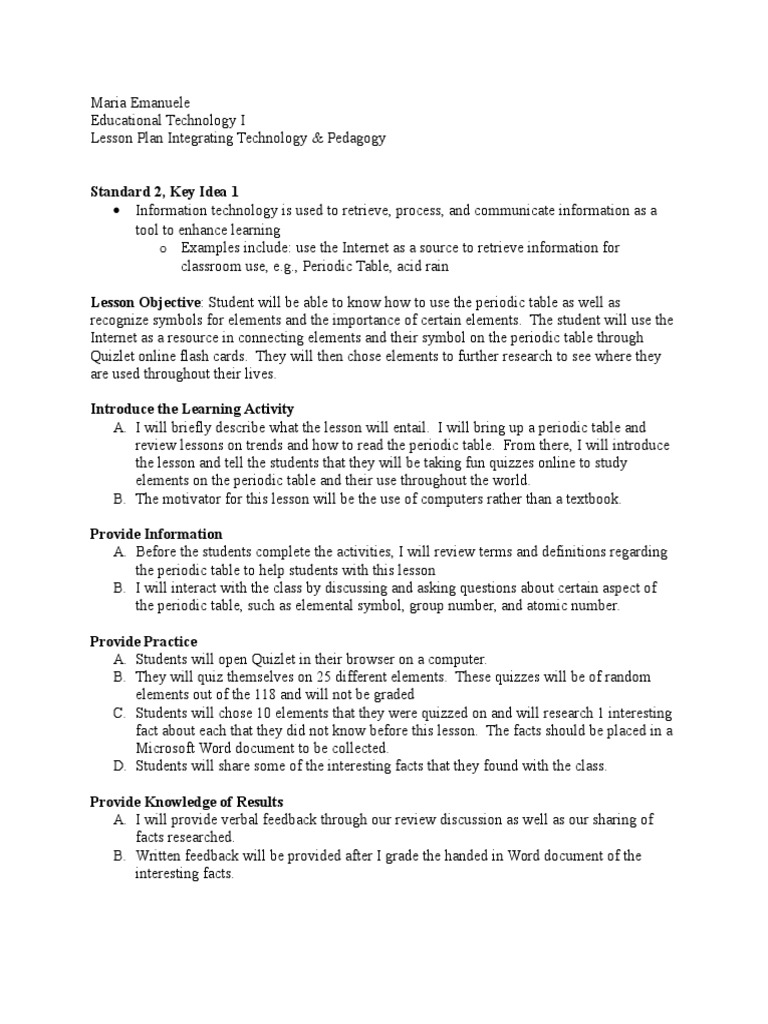 Lesson Plan Periodic Table Lesson Plan Psychological Concepts