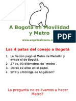 Conejo a Bogotá en movilidad y metro