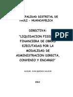 NORMAS Y PROCEDIMIENTOS PARA LA LIQUIDACION FISICO FIANCIERA EN LA EJECUCION DE OBRAS EJECUTADAS .doc