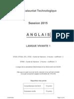Sujet Bac 2015 Technologique Anglais Pondichery