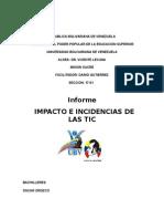 Informe ImpaIncidencias de las ticscto e Incidencias de Las Tic