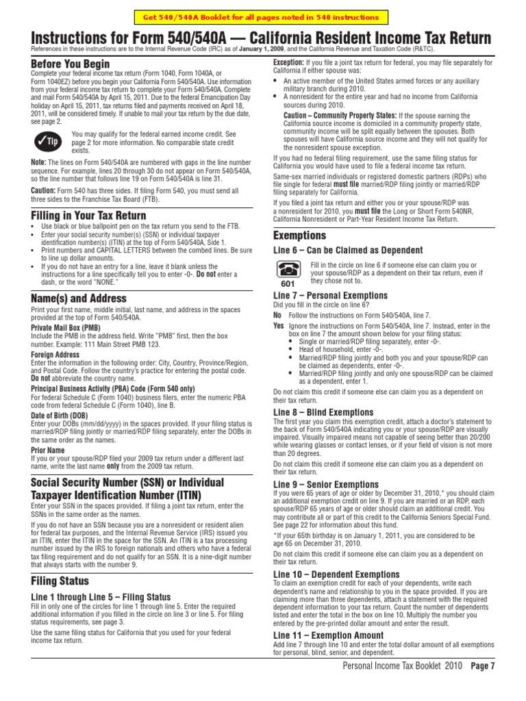 Ftb. Ca. Gov forms 09_540esins.