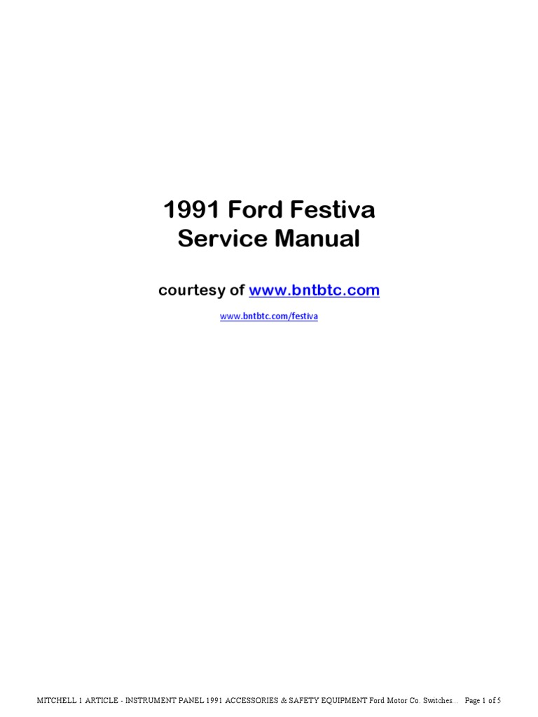 1991 Ford Festiva Manual | Electrical Connector | Steering