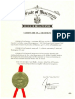 certificate of achievement from governor scott walker 2012 4-3