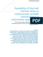 Feasibility of Free Ball Drive (a Continuosly Variable Transmission ) in Automotive Application